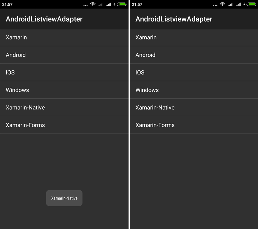 Creating ListView In Xamarin Android